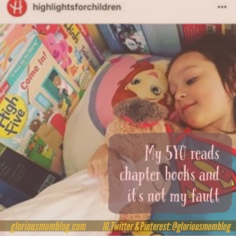 My 5YO reads chapter books and it's not my fault: the story of a gifted child and her homeschool beginnings. Includes curriculum recommendations for kindergarten and preschool. Read it at gloriousmomblog.com.