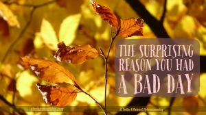 The surprising reason you had a bad day: we all have one of THOSE days.  Find out what purpose it could possibly serve at gloriousmomblog.com.